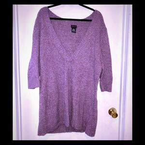 Torrid 4x purple fuzzy v-neck sweater 3/4 sleeves